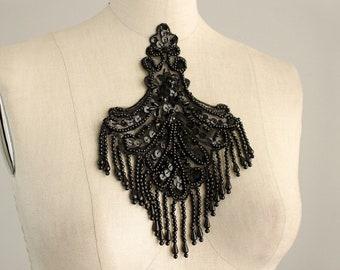 Black Beaded And Sequin Fringe Applique / Available in Black, White, Blue & Pink / Vintage Flapper Style / Bridal / Costume Design