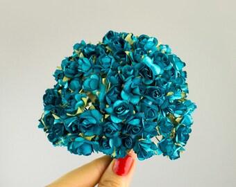 NEW ITEM! 144 Paper Roses / Teal / 12 Dozen Flowers / 14 mm / Bridal / Scrapbooks / Wedding Favors / Millinery / Baby Shower / Invitations