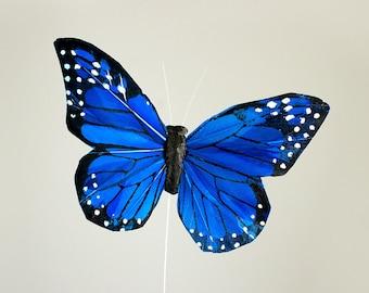 NEW ITEM! One Dozen Large Blue Feather Butterflies 12 Monarch Bird Feather Butterflies / 5 inch wingspan / Bridal / Wedding / Bouquets