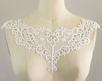 black copper net glitter Collar yoke embroidered patch lace applique gothic