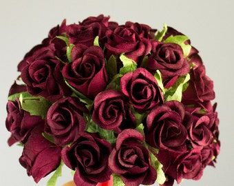48 Roses / Burgundy Paper Flowers Bouquets / 20 mm / Roses With Wire Stems / 48 Blossoms Total / Flower Ball / Wedding / Bridal / Favors