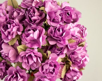 72 Roses / Lavender Paper Flowers Bouquets / 30 mm / Roses With Wire Stems / 72 Blossoms Total / Flower Ball / Wedding / Party Favors