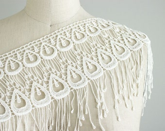 Mallory Ivory Peacock Style Venetian Lace Fringe Trim / Large Venise Lace Fringe Trim / Bridal Lace / Wedding Dress Lace / Bird Costume Lace