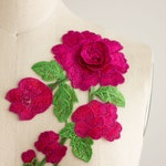 Large MAGENTA Hot Pink ROSE Vine Patch Appliqués 7 Available Colors! 3-D Petals Embroidered Patches Gucci Style Jean Rosettes Fuchsia Floral