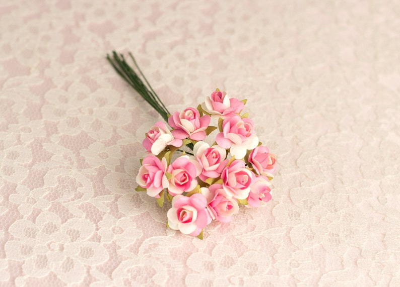 144 Paper Roses  Pink And Ivory Two Tone Paper Flowers  14 mm Size  0.5 inches  Bridal  Wedding Favors  Baby Shower
