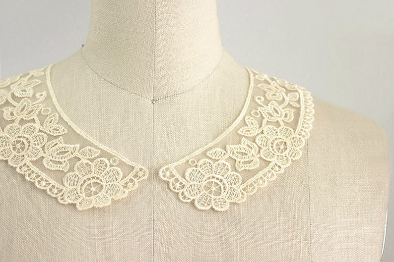 Victorian Blouses, Tops, Shirts, Sweaters Antique Cream Embroidered Organza Vintage Style Venise Floral Peter Pan Lace Collar / Neckline / Edwardian Lace Necklace / Peterpan Collar $4.95 AT vintagedancer.com