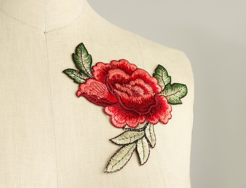 abe50aaeed6 NEW ITEM Large Red Rose Large Iron On Patch Applique   Sold