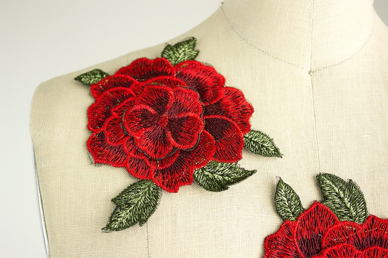 780f01f1277 NEW ITEM Large Red Rose Large 3D Iron On Patch Applique