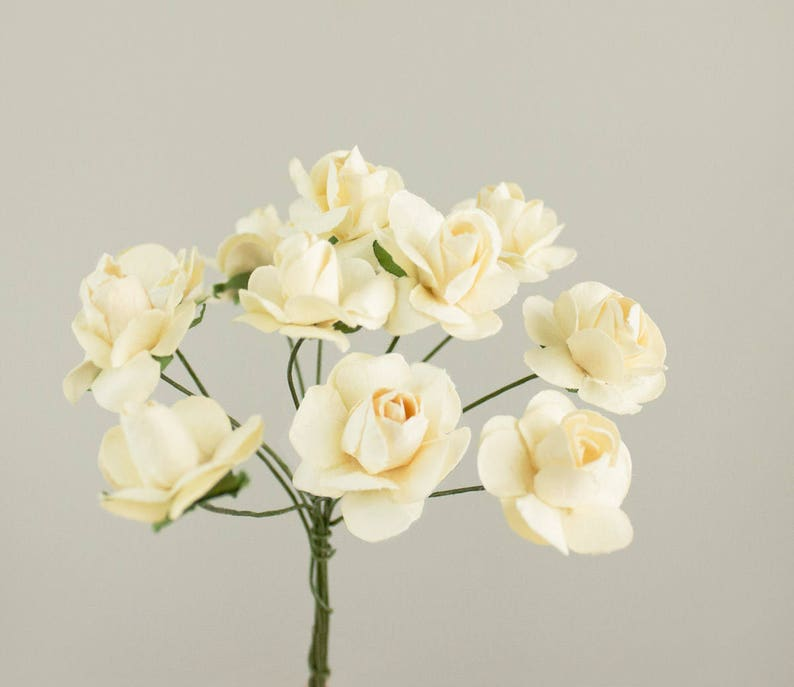 12 Paper Roses  One Bouquet   0.75 inches 20 mm  Peach  34 Inches  Pumpkin  Artificial Flowers  Bridal  Wedding Favors  Millinery