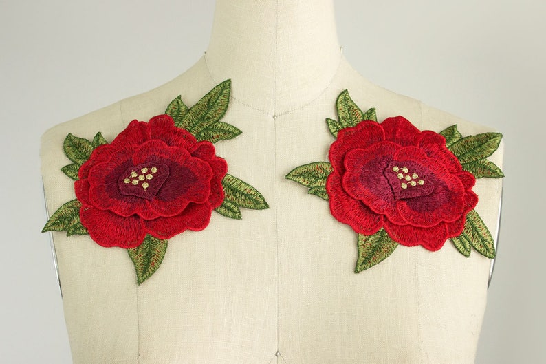 9f8848726cb NEW ITEM Large Red Rose With Leaves Iron On Patch Applique