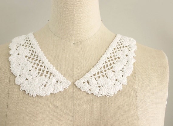 Vintage White Cotton Hand Crochet Flower Peter Pan Collars Sewing Necklace