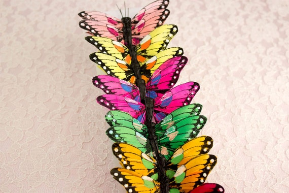 Hot Pink Feather Butterfly with White Glitter 7.0cm wingspan