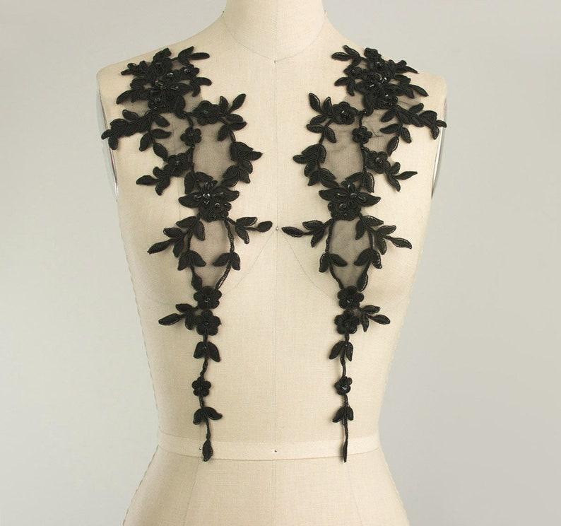 Pretty Black Venise Beaded /& Sequin Collars x 1pair