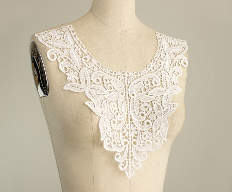 New item extra large floral white ivory bodice applique front etsy