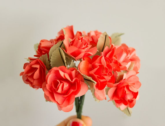 Bouquet coral paper flowers 30 mm orange roses with wire etsy image 0 mightylinksfo
