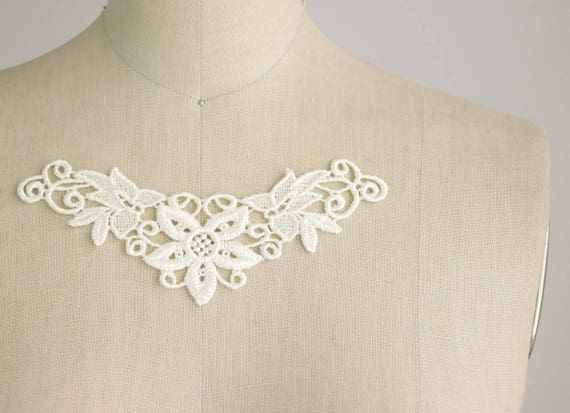 Ivory venice lace mini applique collars set of also etsy