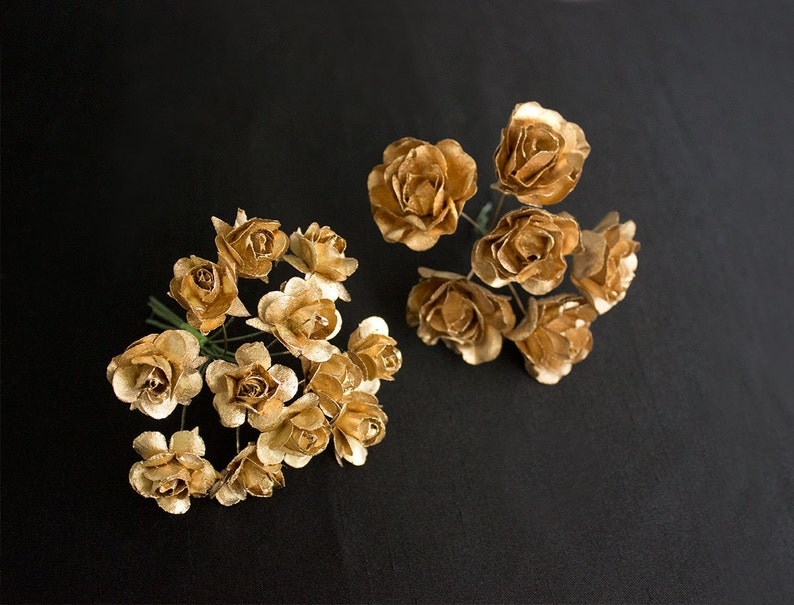 Bouquet Silver Paper Flowers  1.5 Inch Flower Head  Vintage Roses W Wire Stems  Set of Six Blossoms  Bridal  Wedding  Also In Gold