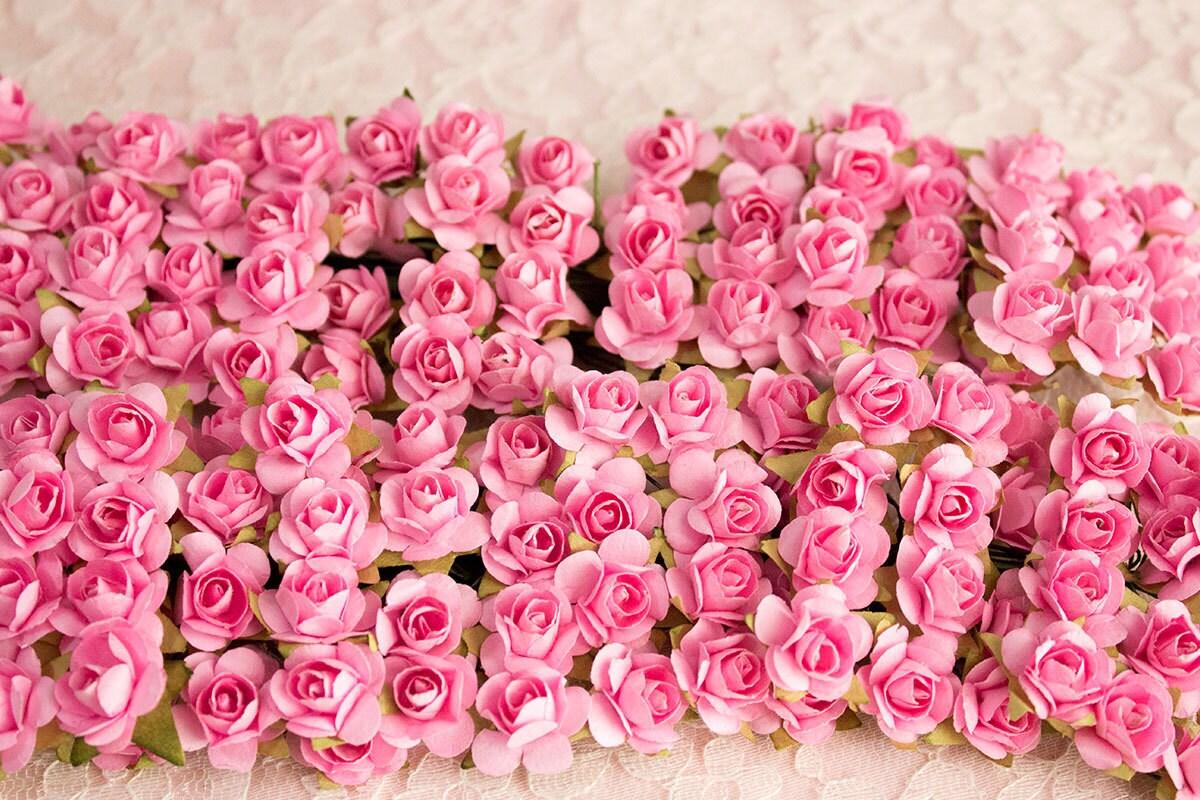 144 Paper Roses Pink 12 Dozen Artificial Flowers 14 Mm Etsy