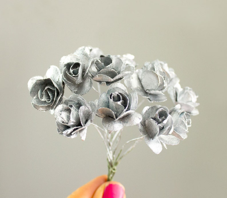 BOUQUET SILVER Metallic Paper Roses  Artificial Flowers  20MM Size  0.75 inches  Also in Gold  Bridal  Boutonni\u00e8res  Anniversary