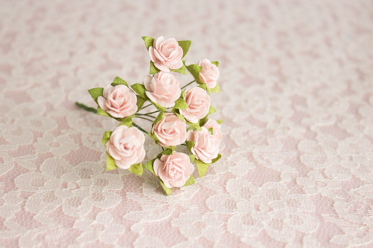 100 paper roses artificial pale pink flowers 14 mm etsy zoom mightylinksfo