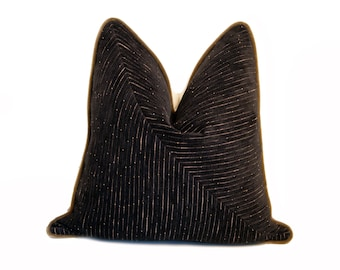 "18"" Luxe Black Velour Ribbed Pillow"