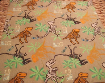 """14"""" x 14"""" PILLOW COVER -Fun Dinosaur Skeletons on Sand Flannel with words BIG Smile"""