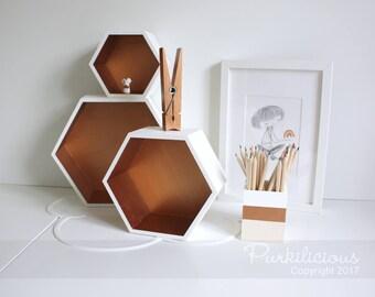 Hexagonal Box Shelves (Set of 3), Hexagon Storage, Hexagon Box, Home, Wall, Shelf, Display