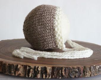 Coco Bonnet. Newborn bonnet, Soft newborn bonnet, Brown newborn hat, Brown newborn bonnet, Newborn photo prop, Soft hat, Photo Props,RTS ph