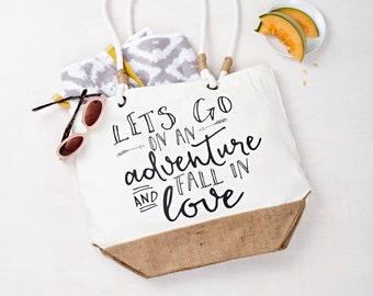 Lets Go On An Adventure Beach Bag