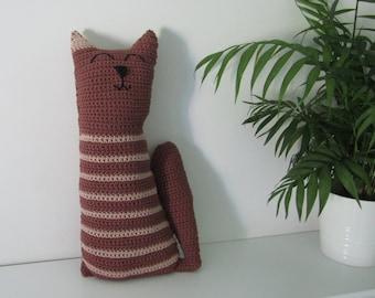 Cute cat cushion - Handmade crochet cat - Organic cotton - Soft cuddly toy - Stripy