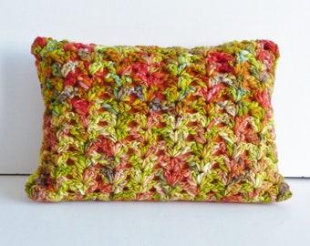Bright orange and green crochet cushion - merino yarn - hand dyed locally -  autumn shades -burnt orange fabric -  organic - eco friendly