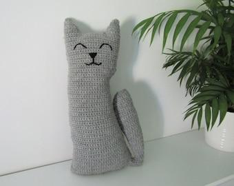 Cute cat cushion - Handmade crochet cat - Wool and alpaca yarn - Soft grey cuddly toy