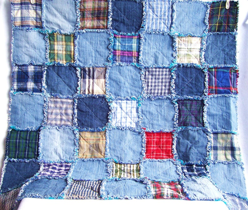 Denim rag quilt tutorial PDF pattern  picnic blanket  image 0