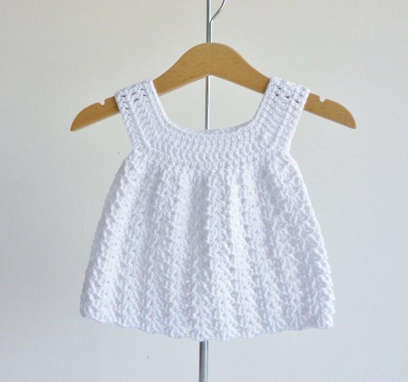Baby sundress   pure white  newborn to 3 months  crochet image 0