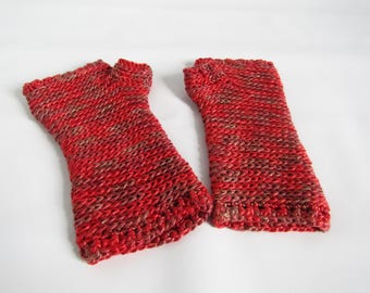 Gauntlet style fingerless gloves - soft and warm - hand made with silk -  hot chilli red - teen to adult