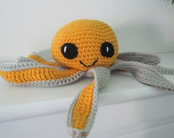 Octopus - Jonah the crochet octopus -handmade with yellow and grey organic cotton