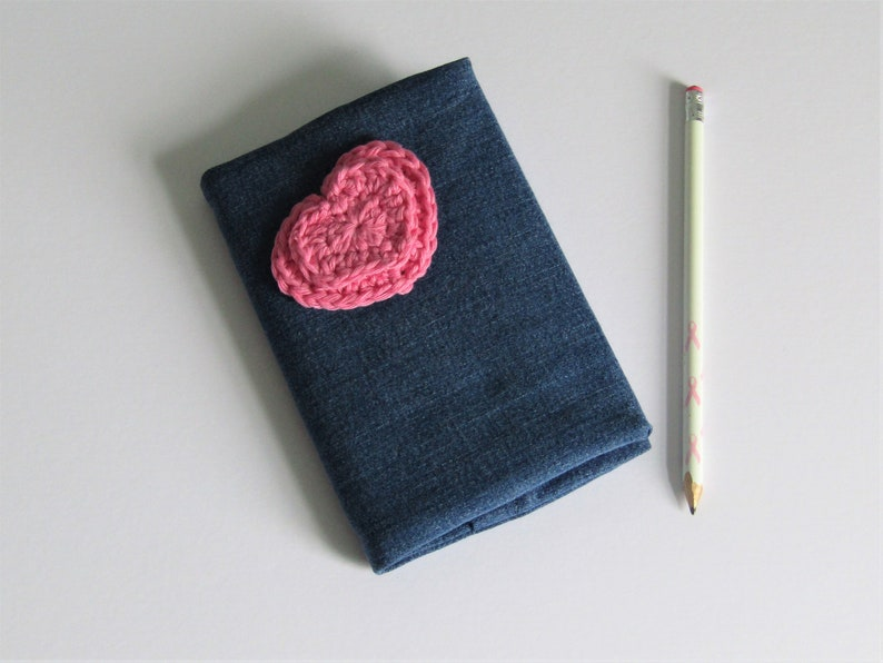 Denim notebook with heart motif  recycled fabric  A6 lined image 0