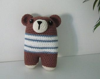 Teddy - Andy the crochet bear - stripey jumper - 100% cotton yarn - brown bear