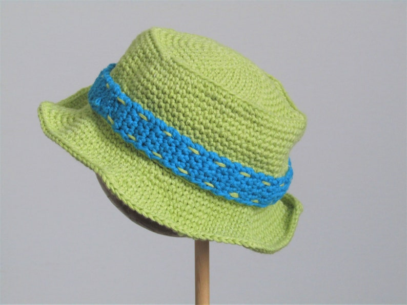 Brimmed sun hat for baby  1 to 2 years in soft recycled image 0