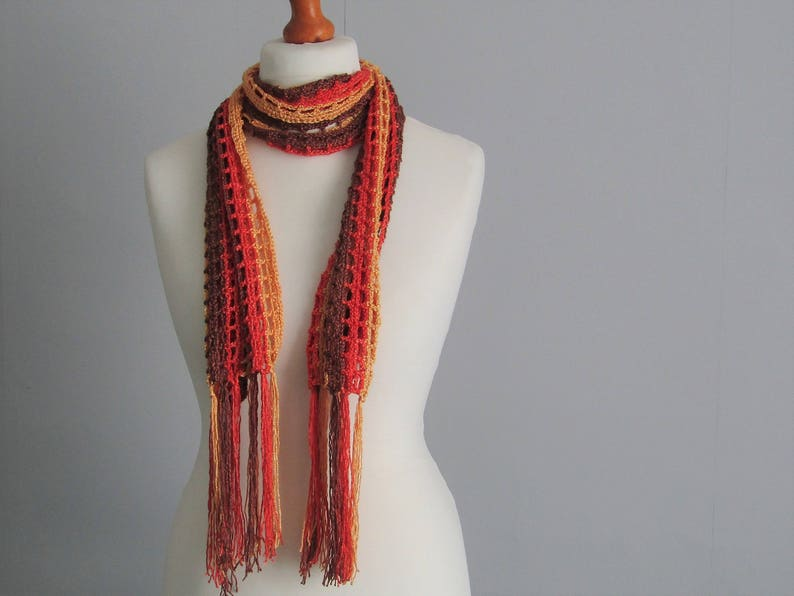 Bamboo mesh scarf with fringe  chocolate brown saffron rust image 0