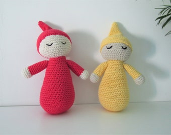 Baby doll - soft, crocheted doll in smooth cotton - easy to hold and cuddle - choose red or yellow