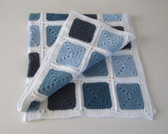 Blue and white crochet blanket - crochet in recycled cotton yarn - granny square blanket - baby blanket - eco friendly