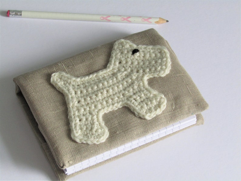 Linen notebook with Scottie dog motif  beige fabric  A6 image 0