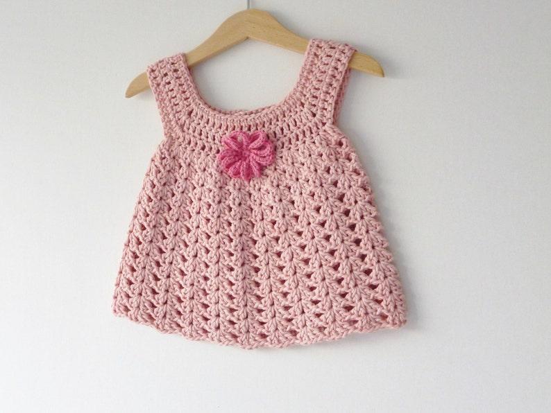 Baby sundress   dusky pink  6  9 months  crochet dress  image 0