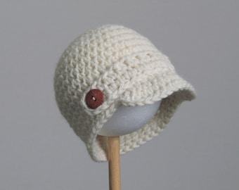Newsboy cap newborn baby hat - ivory - cream - handmade with wool and alpaca mix yarn