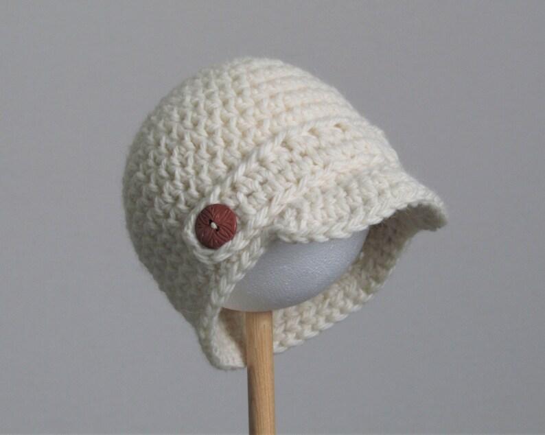 Newsboy cap newborn baby hat  ivory  cream  handmade with image 0