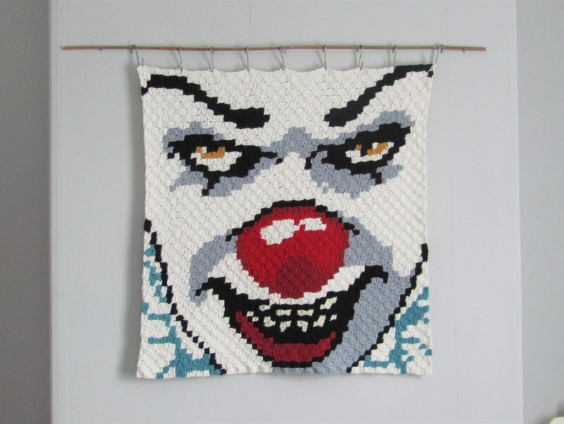 Pennywise the clown   wall hanging  wool wall art  IT  image 0