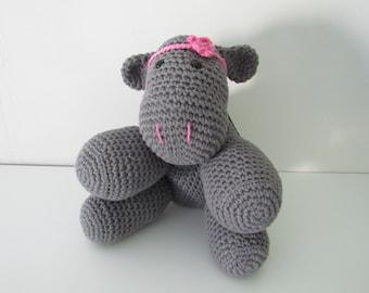Hippo - Tallulah the crochet Hippopotamus -handmade with grey organic cotton -pink headband