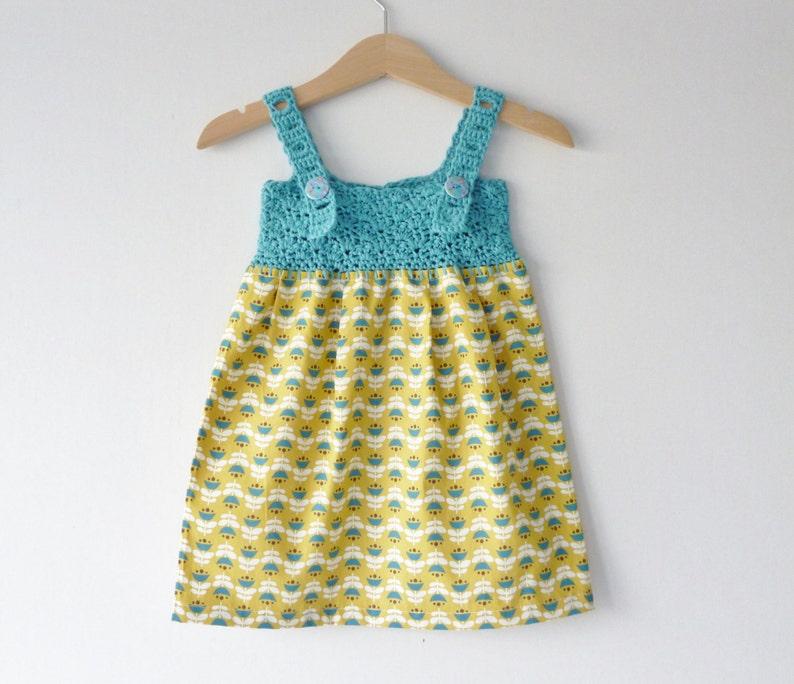 Organic baby sundress  3  6 months  aqua and yellow  image 0