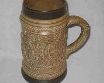 """Wonderful 6 1/4"""" Western Germany Detailed Beer Mug"""
